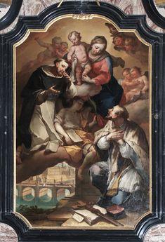 Pietro Ligari. La Madonna col Bambino con San Domenico e San Giovanni Nepomuceno. San Simon, San Giovanni, Saint John, Baby Jesus, Madonna, Heavenly, Saints, Mary, Celestial