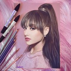 Link - 💕🌟🌸 Ariana Grande 🌸🌟💕 ~ New art of added to my portfolio 💖😍 Hope you like it guys! Please tag her. Ariana Grande News, Ariana Grande Drawings, Colored Pencil Portrait, Color Pencil Art, Cartoon Tattoos, Celebrity Drawings, Polychromos, Dangerous Woman, Prismacolor