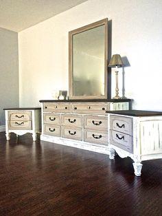 Shabby Chic Black White Taupe Bedroom Set 600 Sold