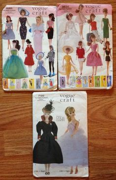 "Vintage Vogue Craft 11.5"" Fashion Doll Barbie 3 Uncut Patterns 7190 9834 9686 #VogueCraft"