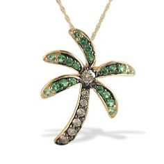Yellow Gold Le Vian Aloha Collection Palm Tree Pendant with Tsavorite and Diamonds (Chain Included) - Le Vian Jewelry - Designer Collections