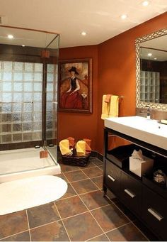 Whether you aim of a soothing bath next spa-like paint colors or a bold bath taking into account a carefree color scheme, our gallery of bathroom color is sure to inspire. Burnt Orange Bathrooms, Orange Bathroom Decor, Brown Bathroom, Modern Bathroom Decor, Bathroom Wall Decor, Bathroom Colors, Bathroom Interior Design, Bathroom Ideas, Burnt Orange Paint