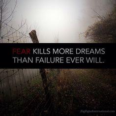 Fear kills more dreams than failure ever will. #Dreams #Ziglar ziglarcertified.com by thezigziglar Zig Ziglar, Dreams, Instagram Posts
