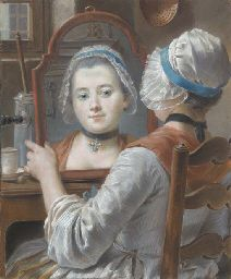 ca. 1750 French - A girl wearing a bonnet, looking at herself in a mirror with a chocolatière and a cup on the table