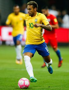 Neymar of Brazil in action during the match between Brazil and Chile for the 2018 FIFA World Cup Russia Qualifier at Allianz Parque Stadium on October 10, 2017 in Sao Paulo, Brazil.