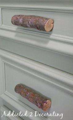Natural wood branches as door knobs