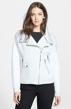 $299, Mackage Mesh Sleeve Moto Jacket. Sold by Nordstrom. Click for more info: https://lookastic.com/women/shop_items/284283/redirect