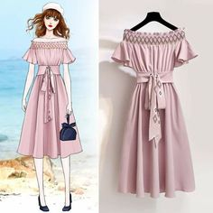 Summer Fashion Off The Shoulder Tunic Short Sleeve Temperament Pleated A-line Pink Dress Teen Fashion Outfits, Girly Outfits, Pretty Outfits, Stylish Outfits, Fashion Models, Cute Outfits, Dress Design Sketches, Fashion Design Drawings, Fashion Sketches