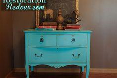 turquoise antique dresser, furniture furniture revivals, painting