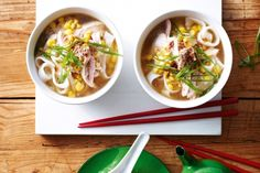 Get souped up with a bowl of chicken & corn noodle soup!