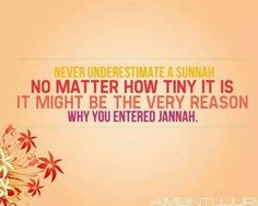 You never know which good could be your entrance to Jannah with the permission of Allah.