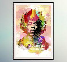 Jimi Hendrix ,  Rock Music Serie - Psychodelic Sound  Watercolor art Watercolor Printing Room Decor Art  Music Art Music Poster A307