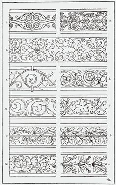"""From, """"A Handbook of Ornament"""". 1898 by Franz Sales Meyer.Great for borders on quilts. Border Design, Pattern Design, Pattern Ideas, Baroque Frame, Leather Pattern, Illuminated Manuscript, Pyrography, Islamic Art, Wood Carving"""