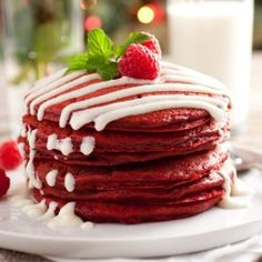 Red Velvet Pancakes with Cream Cheese Glaze - perfect Christmas breakfast!