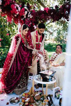 Outdoor Ceremony with Vibrant Pink Flower Decor   By Prue Franzmann Photography   Sri Lankan Wedding   Multicultural Wedding   Outdoor Wedding   Mendhi for Bride   Whiter Sari Wedding Dress   Pink Wedding Flowers  