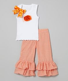 Another great find on #zulily! White Tank & Orange Gingham Pants - Infant, Toddler & Girls by Beary Basics #zulilyfinds