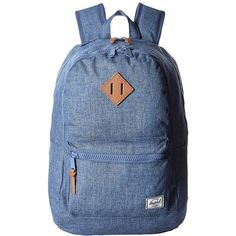 Herschel Supply Co. Lennox (Limoges Crosshatch/Tan Leather) Backpack... ($90) ❤ liked on Polyvore featuring bags, backpacks, shoulder strap backpack, leather knapsack, blue backpack, laptop bag and herschel supply co backpack