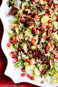 Warm Roasted Brussels Sprout Apple Salad with Blue Cheese and Pecans Recipe