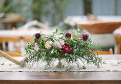 Yellow, burgundy, and pink garden roses | photo by Taylor Lord | 100 Layer Cake