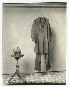 The suit and hat worn by Abraham Lincoln on the night of his assassination. Photograph made by the Smithsonian, circa 1890.