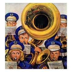 Marmont Hill March Band at Football Game Stevan Dohanos Painting Print on Canvas 48 x 48 Home Decor Wall Decor Canvas Art Canvas Art Prints, Painting Prints, Paintings, Saturday Evening Post, Ad Art, Norman Rockwell, Online Art Gallery, Wrapped Canvas, Giclee Print