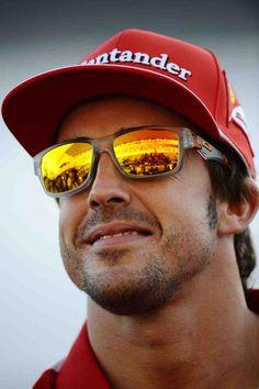 Fernando Alonso - oakley jupiter squared lenses fire red