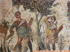 "Villa Romana del Casale | Mosaic floor in Villa Romana - a luxurious Roman villa in southern Sicily dating from the fourth century BC. Every room is decorated with mosaics. The UNESCO site says, ""It is especially noteworthy for the richness and quality of the mosaics which decorate almost every room; they are the finest mosaics in situ anywhere in the Roman world."""