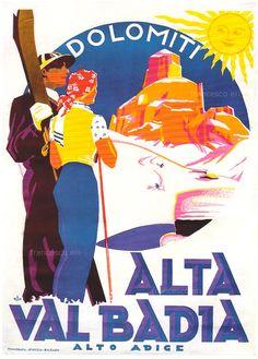 vintage ski poster Alta Val Badia Italia #Dolomiti #Dolomiten #Dolomites #Dolomitas