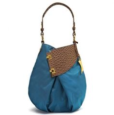 Adorable peacock and leather hobo bag