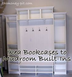 Mudroom built ins made from IKEA billy bookcases and some beadboard (tutorial) Billy Ikea, Ikea Regal, Ikea Billy Bookcase, Ikea Shelves, Bookshelves Tv, Build Shelves, Crate Bookcase, Room Shelves, Ikea Hackers