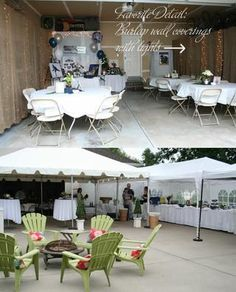 Really cute. Burlap wall coverings with lights
