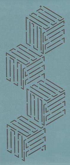 "Tumbling Blocks 4"" - The Stencil Company"
