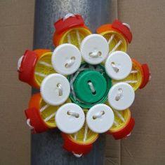 plastic bottle cap flower pieces by FVue, via Flickr