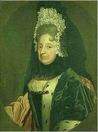 Sophia as dowager Electress of Hanover, around the time she was proclaimed heiress presumptive of the British crown.