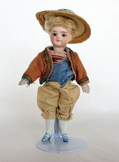 """4 1/4"""" French All-Bisque Mignonette Boy with original costume"""
