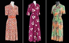 1940s dresses from the Fashion On The Ration exhibit, Imperial War Museum