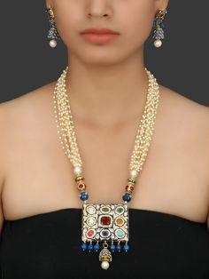 Ručně vyrobené v modré Navratan Kámen a polodrahokamů perlový náhrdelník