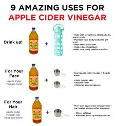 ACV a very useful natural product! I love to use an acv rinse for my hair once in a while gives super shiny hair! Apple Cider Vinegar Health, Apple Cider Vinegar Remedies, Apple Cider Vinegar Shampoo, Vinegar Detox Drink, Apple Cider Benefits, Vinegar Rinse For Hair, Apple Vinegar For Hair, Drinking Apple Cider Vinegar, Apple Cider Vinegar For Weight Loss