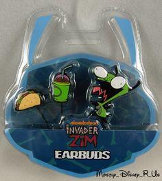 Invader Zim Gir Slushies Taco Charm Earbuds Ear Buds Ipod Mp3 Headphones NEW