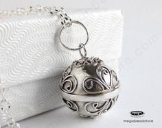 "Pregnancy Necklace Mexican Bola Harmony Ball with 36"" Chain 925 Sterling Silver P81CH67"