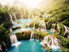 #nature #beautiful #scenery Heavenly pools and waterfalls on the Vietnam-China border - Ban Gioc Falls Vietnam [OC][3992  2992]