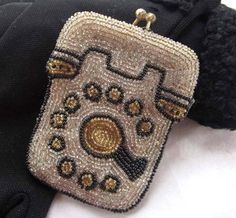 Vintage Beaded Coin Purse  Telephone Design Change by JanesVintage, $26.50