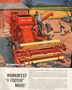 The Massey-Harris 35 combine is here for #VintageAdWednesday! (Farm Quarterly - Summer 1960) #HeritageIron #MuscleTractor