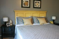 Pale yellow door headboard ..diy