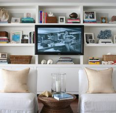 Living Rooms - Modern White Built-ins - Design photos, ideas and inspiration. Amazing gallery of interior design and decorating ideas of living rooms, laundry/mudrooms by elite interior designers - Page 3 Home Decor Bedroom, Decor, Cottage Living Rooms, Tv Wall Design, Home, Living Room Built Ins, Floor To Ceiling Bookshelves, Home Decor, Room