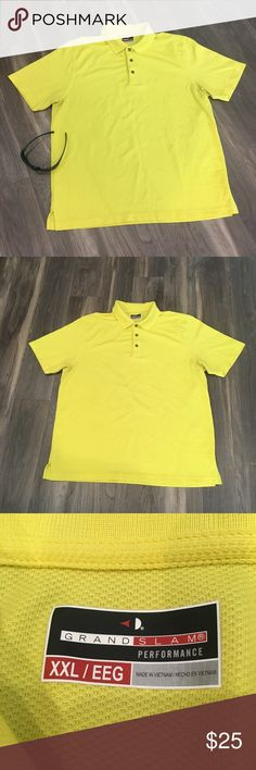 90be6f258fa23 Grand Slam Mens Size Yellow Polo Golf Shirt Brand: Grand Slam Size: XXL  Fabric: Polyester Make a statement in this bold and vibrant solid yellow  polo golf ...