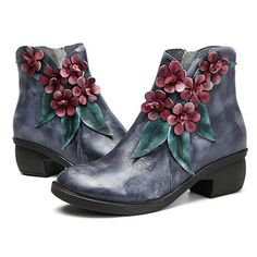 SOCOFY Sooo Comfy Vintage Handmade Floral Ankle Leather Boots