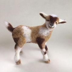 Needle felted Baby Goat handmade 3D wool sculpture. Made To