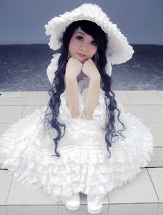White Lace Lolita Dress for Women