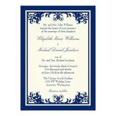 Navy Cream Vintage Flourish Scroll Wedding Personalized Invite